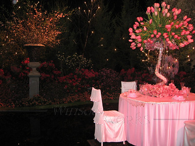 Tulip table in middle of pond