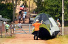 Campers move in to the Philadelphia Folk Festival.   Thursday, August 14, 2014.   Photo by Geoff Patton