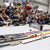 Record-Eagle/Keith King<br /> Spectators and members of the Wolf Den look on Saturday, April 14, 2012 during the Boy Scouts of America Bay Trails District Pinewood Derby Finals at the United States Coast Guard Air Station Traverse City hangar.