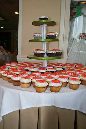 The bride wanted cupcakes for her wedding cake; since the groom vetoed that idea, she got cupcakes for her bridal shower instead!