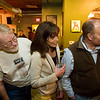 Record-Eagle/Jan-Michael Stump<br /> From left, Bob Brown, Jenny Thomas and Matt Thoms watch the start of a Wednesday night Pintwood Derby race at Right Brain Brewery.