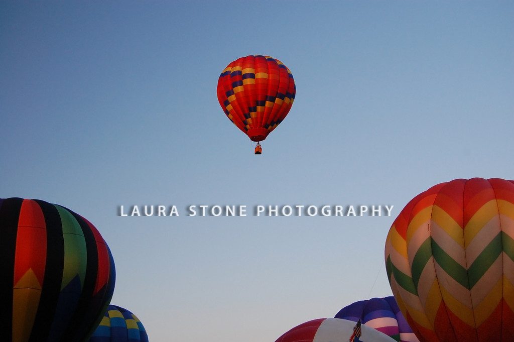 A single hot-air balloon rises above the others at a balloon festival event