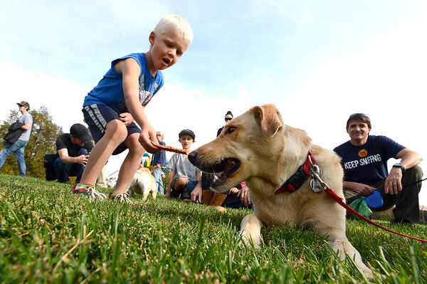 """Roxy the dog eats some of the Bixbi Pet treats from Hunter Rech, 4,  while waiting for the Play-Dead-A-Palooza at Scott Carpenter Park to begin  on Sunday. Eleven dogs played dead to set a world record recognized by  the Record Setter Council.. A world record effort, supported by RecordSetter, is to raise awareness about tainted dog treats.<br /> For more photos and a video of the dogs, got to  <a href=""""http://www.dailycamera.com"""">http://www.dailycamera.com</a>.<br /> Cliff Grassmick  / September 23, 2012"""