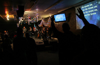 The congregation is led in song by Worship Pastor Brandon Swanner Sunday morning, December 11, 2011 at Pleasant Valley Community Church in Owensboro, KY.