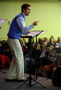 Pastor Jamus Edwards gestures during his sermon Sunday morning, December 11, 2011 at Pleasant Valley Community Church in Owensboro, KY.