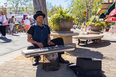 Keyboard Player. Pleasanton Antique Fair 10-12-2014. Pleasanton, CA, USA