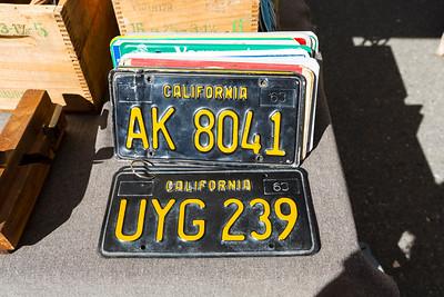 License Plates. Pleasanton Antique Fair 10-12-2014. Pleasanton, CA, USA