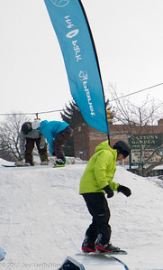 Snow boarding demonstration at the Plymouth Ice Festival