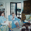 "Photo taken in 1988 of Nancy Ellis Bush and her mother Mrs. Bush. Taken at the summer ""White House"", Walkers Point, by Linda Williamson. Mrs. Bush being photographed by White House photographers while she talks to President George Bush."