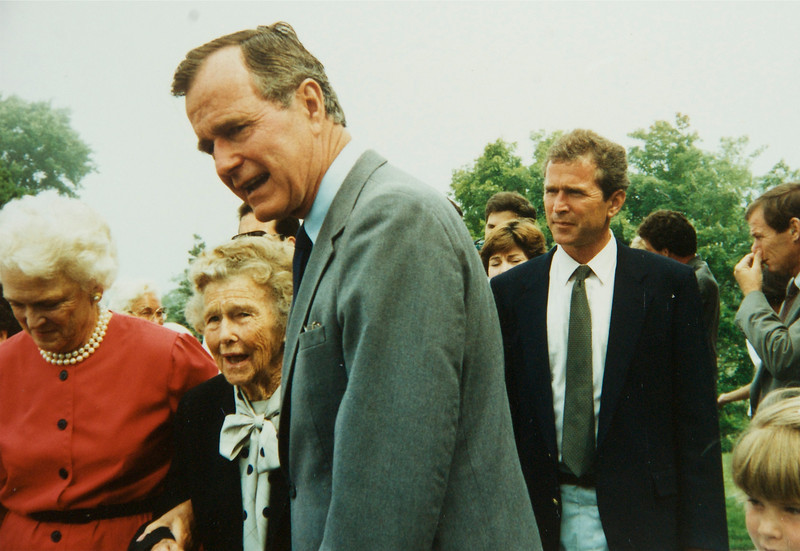 George Bush Sr. at church in Maine with his mother and Barbara Bush, George W next to him. Photo take by Linda Williamson 1988