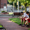 Nick Paul, 18, and Max Aker, 17,  gather on the Upper Common to play Pokemon Go in Fitchburg on Tuesday evening. SENTINEL & ENTERPRISE / Ashley Green