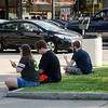 Gamers gather to play Pokemon Go at Monument Square in Leominster on Wednesday afternoon. SENTINEL & ENTERPRISE / Ashley Green