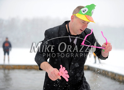 1/21/2012 Mike Orazzi | Staff Don Jenkins during the 7th Annual YMCA Polar Plunge at Camp Sloper in Southington on Saturday.