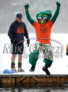 1/21/2012 Mike Orazzi | Staff Brian Patenaude, dressed as Gumby, takes the plunge into ice cold water during the 7th Annual YMCA Polar Plunge at Camp Sloper in Southington on Saturday.