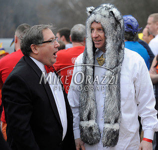 1/18/2014 Mike Orazzi | Staff Al Natelli and Mike Riccio at the Ninth Annual Southington YMCA Polar Plunge on Saturday at Camp Sloper in Southington.