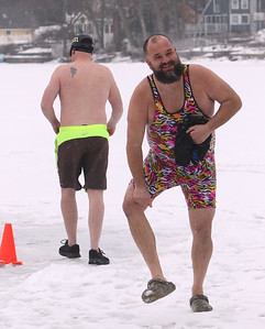 Polar plunge to benefit Special Olympics, at the Shoreline Beach Club in Tyngsboro.  Chris Spencer of Nashua after plunge. (SUN/Julia Malakie)