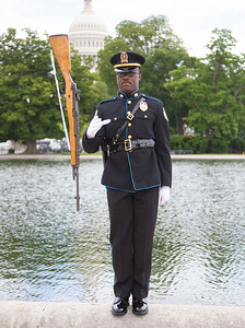 Kelcey Bell of the The Metropolitan Nashville Police Department demonstrates twirling a rifle (photo by Jeff Malet)