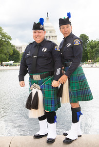 Mark Alvares and Chacha Ramon of the San Jose (Calif.) Police Pipe Band. (Photo by Jeff Malet)