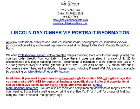 2020 LINCOLN DAY DINNER VIP PORTRAIT INFORMATION