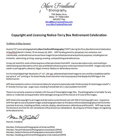 Copyright & Licensing Notice-Terry Box Retirement Event