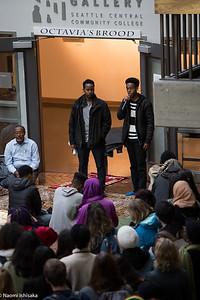 Hamza Warsame's cousin speaks during the vigil