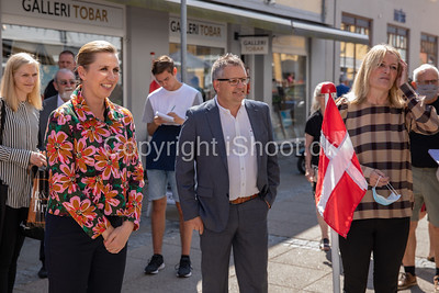 Statsminister Mette Frederiksen på besøg i Sæby, ledsaget af Borgmester Birgit Stenbak Hansen.Sæby den 4. Juni 2021