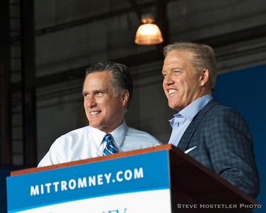 Repbulican Presidential Candidate Mitt Romney and John Elway