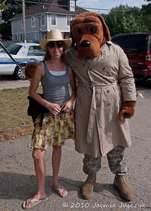 Jaimie and McGruff the crime fighting dog.