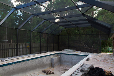 Screened enclosure nearly completed
