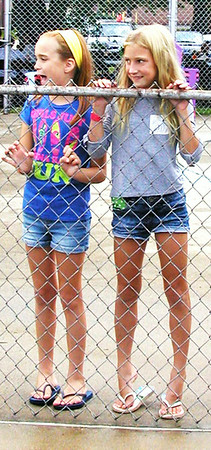Debbie Blank | The Herald-Tribune Hope Kroen (left) and Allie Savage, two Batesville 9-year-olds, had to decide: To swim or not to swim?