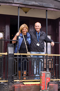 Renee Chadwick, Spirit Committee Chair, with Mark Pettie. Vintage CPR train rides, Port Coquitlam 2013 Homecoming celebration