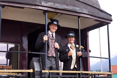 Mayor Greg Moore with Councilor Mike Forrest. Vintage CPR train rides, Port Coquitlam 2013 Homecoming celebration