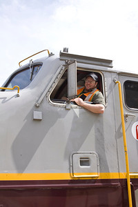 Train engineer gears up for the next train trip. Vintage CPR train rides, Port Coquitlam 2013 Homecoming celebration