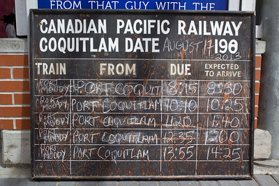 Original schedule board from Coquitlam Station. Vintage CPR train rides, Port Coquitlam 2013 Homecoming celebration