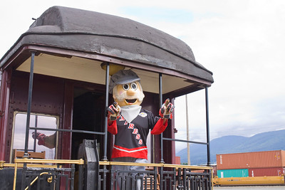 Coquitlam Express mascot on the vintage CPR train.