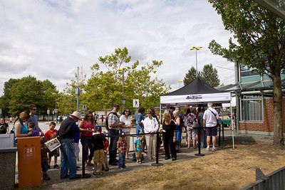 Crowds line up to board the train. Vintage CPR train rides, Port Coquitlam 2013 Homecoming celebration