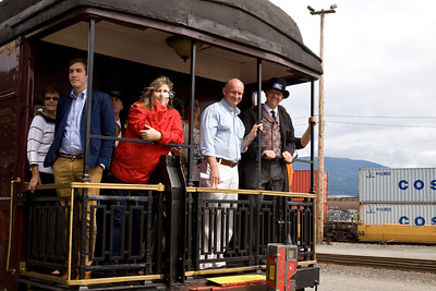 Mayor Greg Moore , MLA Mike Farnworth and more returning from train ride. Vintage CPR train rides, Port Coquitlam 2013 Homecoming celebration