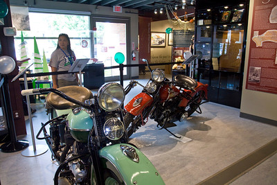 Vintage Harley Davidson motorcycles from the Deeley Exhbition at Heritage at Leigh Square. Port Coquitlam Homecoming weekend, August 17, 2013. Free concerts at Leigh Square and PoCo Rec Complex.
