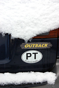 A sign of the times - a Subaru, a PT Sticker and snow. 18Jan12