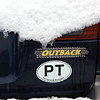 A sign of the times - a Subaru, a PT Sticker and snow.<br /> 18Jan12