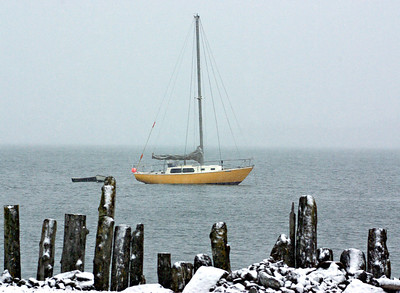 Winter sail boat.