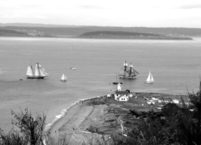 Tall Ships Lynx and Lady Washington sail past Point Wilson