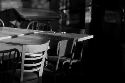 Tables still wait for customers at the Landfall