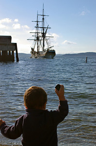 Showing no regard for the Lady Washington's reputation, a toddler chucks a rock at her....