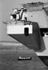 Closeup of HMS Ark Royal and small rowing boat
