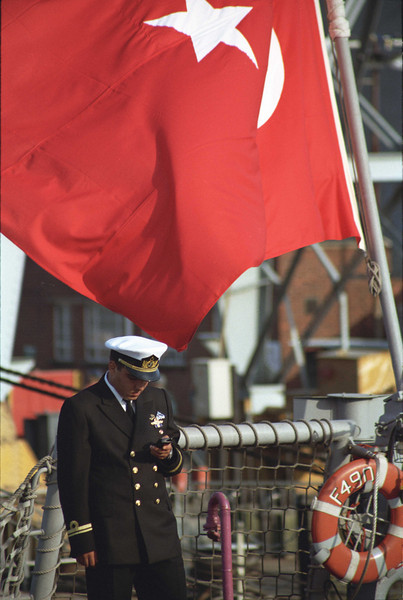 Turkish navy officer using a mobile phone Portsmouth