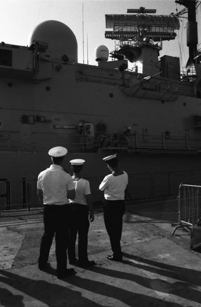 Sailors watching drill aboard HMS Nottingham