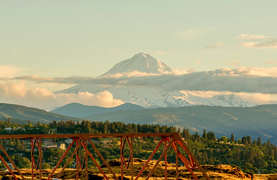 Mt. Hood and a truss railroad bridge