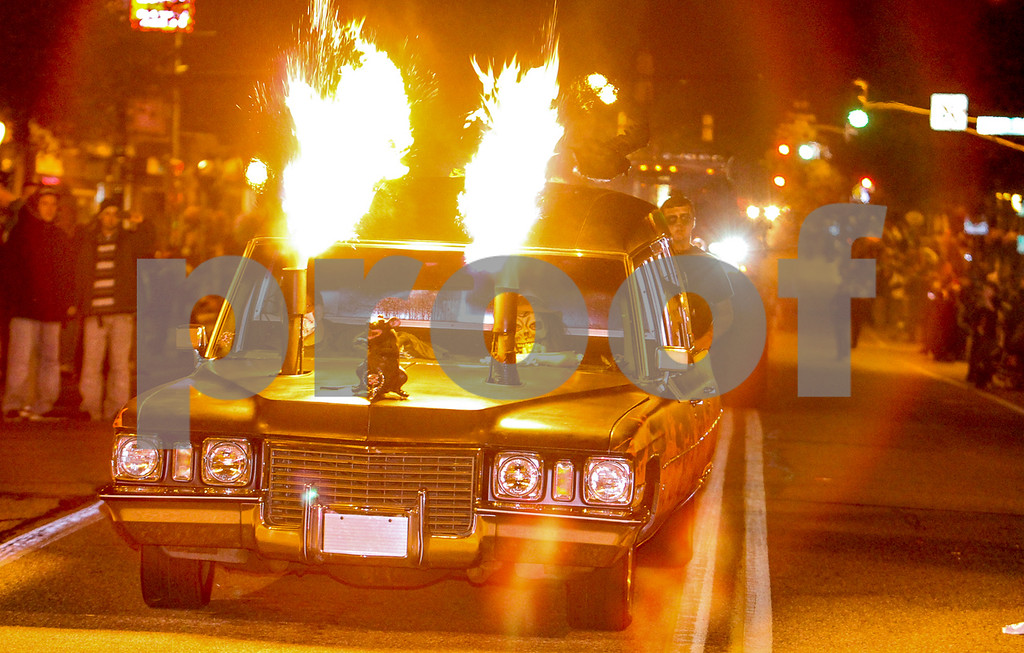 . The grand finale was this fire flaming hearse. Photo by Kevin Hoffman, the Mercury