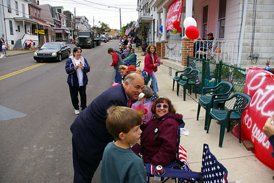 Pennsylvania Governor, Ed Rendell greets & wishes Helen Brennan a happy 70th birthday during the Pottsville Bicentenial Parade